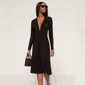 Reformation Black Long Sleeve Midi Dress